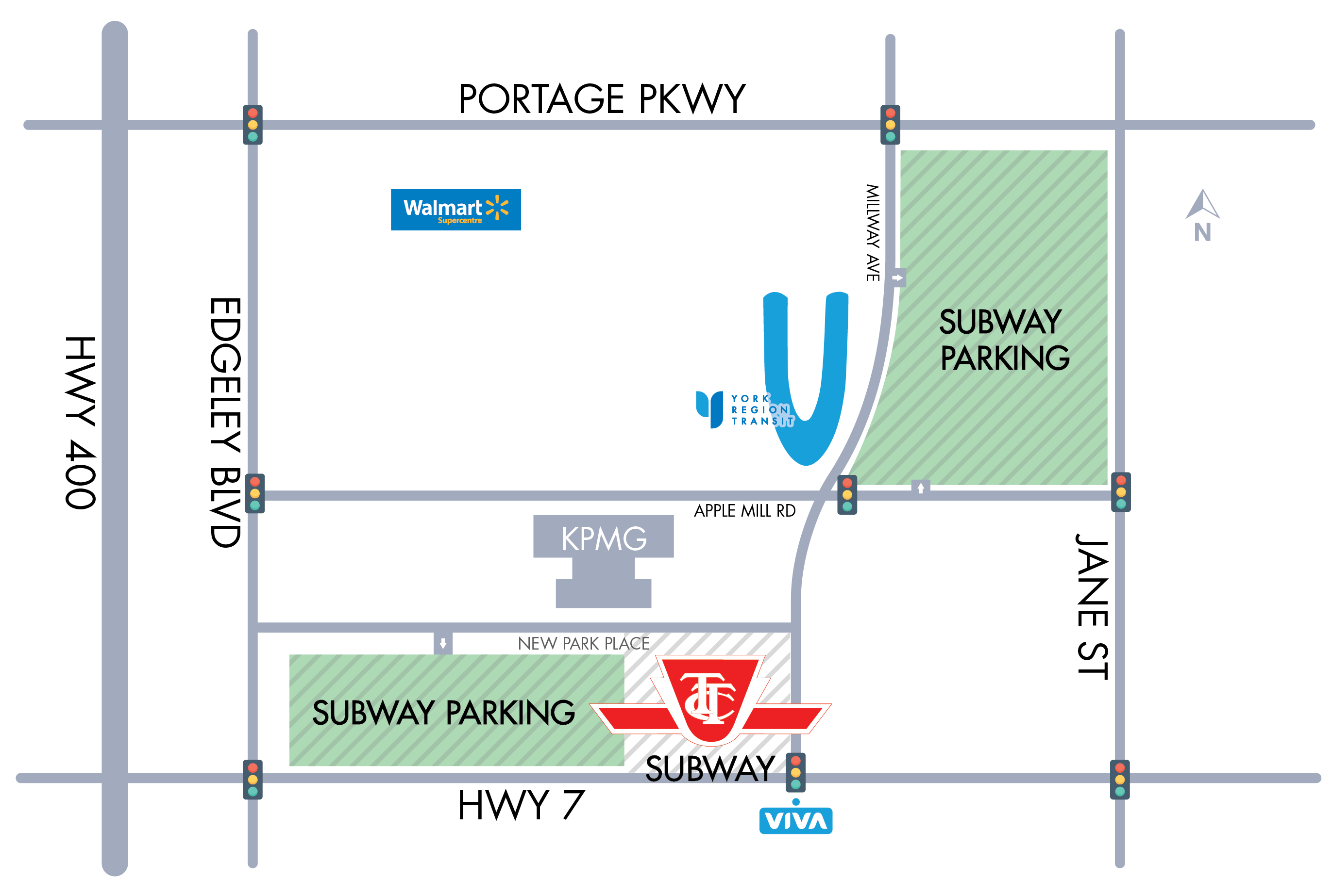 Vaughan Subway Parking Map